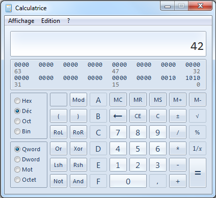 Utilisation de la calculatrice Windows